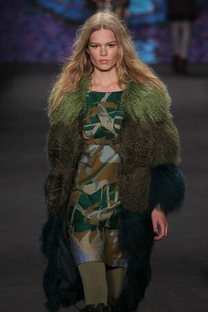 NEW YORK, NY - FEBRUARY 18: Model Anna Ewers walks the runway at the Anna Sui fashion show during MBFW Fall 2015 at Lincoln Center on February 18, 2015 in NYC