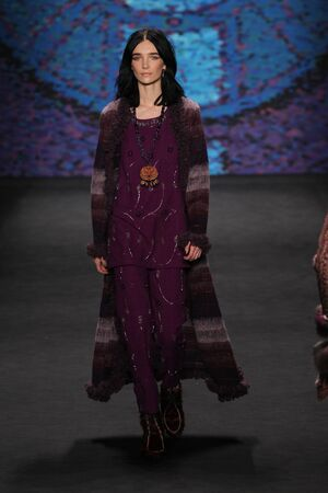 elite: NEW YORK, NY - FEBRUARY 18: Model Janice Alida walks the runway at the Anna Sui fashion show during MBFW Fall 2015 at Lincoln Center on February 18, 2015 in NYC