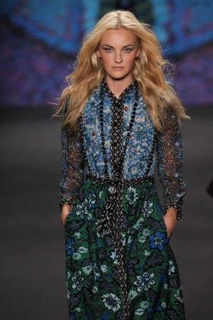 sui: NEW YORK, NY - FEBRUARY 18: Model Caroline Trentini walks the runway at the Anna Sui fashion show during MBFW Fall 2015 at Lincoln Center on February 18, 2015 in NYC