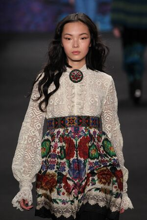 sui: NEW YORK, NY - FEBRUARY 18: Model Xiao Wen Ju walks the runway at the Anna Sui fashion show during MBFW Fall 2015 at Lincoln Center on February 18, 2015 in NYC
