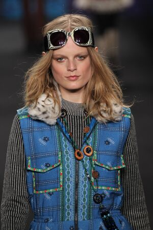 sui: NEW YORK, NY - FEBRUARY 18: Model Hanne Gaby Odiele walks the runway at the Anna Sui fashion show during MBFW Fall 2015 at Lincoln Center on February 18, 2015 in NYC
