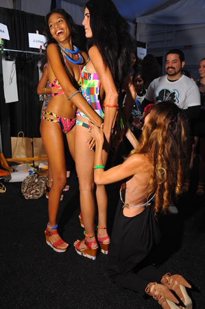 lycra: MIAMI, FL - JULY 19: Designer Mara Hoffman making photo snapshots backstage at the Mara Hoffman Swim fashion show during MBFW Swim 2015 at The Raleigh hotel on July 19, 2014 in Miami, FL.