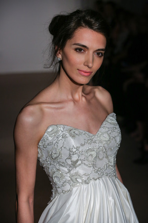 couture: NEW YORK, NY - APRIL 19: A model walks the runway at the Anna Maier  Ulla-Maija Couture Bridal SpringSummer 2016 Runway Show on April 19, 2015 in NYC