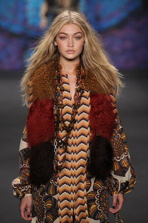 sui: NEW YORK, NY - FEBRUARY 18: Model Gigi Hadid walks the runway at the Anna Sui fashion show during MBFW Fall 2015 at Lincoln Center on February 18, 2015 in NYC Editorial
