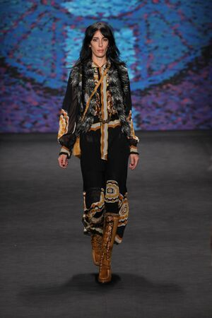 sui: NEW YORK, NY - FEBRUARY 18: Model Jamie Bochert walks the runway at the Anna Sui show during MBFW Fall 2015 at Lincoln Center on February 18, 2015 in NYC