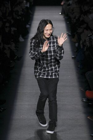 NEW YORK, NY - FEBRUARY 14: Designer Alexander Wang walks the runway after the Alexander Wang during MBFW in New York at Pier 94 on February 14, 2015 in NYC.
