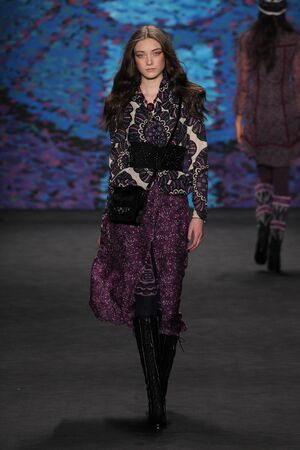 sui: NEW YORK, NY - FEBRUARY 18: Model Yumi Lambert walks the runway at the Anna Sui fashion show during MBFW Fall 2015 at Lincoln Center on February 18, 2015 in NYC