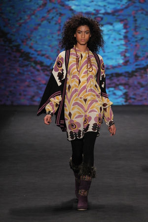 sui: NEW YORK, NY - FEBRUARY 18: Model Imaan Hammam walks the runway at the Anna Sui fashion show during MBFW Fall 2015 at Lincoln Center on February 18, 2015 in NYC Editorial