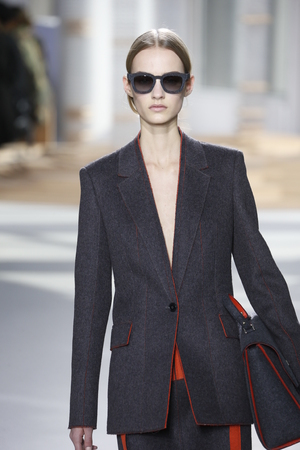 pantsuit: NEW YORK, NY - FEBRUARY 18: A model walks the runway at the Boss Womens fashion show during Mercedes-Benz Fashion Week Fall on February 18, 2015 in NYC. Editorial