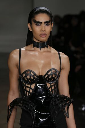 female sexuality: NEW YORK, NY - FEBRUARY 13: A model walks the runway at the Chromat AW15: Mindware fashion show during MBFW Fall 2015 at Milk Studios on February 13, 2015 in NYC Editorial