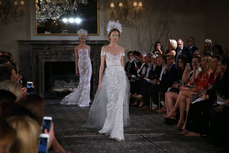 lustre: NEW YORK, NY - APRIL 17: A model walks the runway at the Mira Zwillinger Spring 2015 Bridal collection show on April 17, 2015 in New York City.