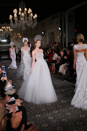 finale: NEW YORK, NY - APRIL 17: Models walks the runway finale at the Mira Zwillinger Spring 2015 Bridal collection show on April 17, 2015 in New York City.