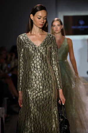 eveningwear: NEW YORK, NY - SEPTEMBER 16: Models walk the runway finale at Raul Penaranda fashion show during New York Fashion Week Spring 2016 at Style 360 on September 16, 2015 in NYC.