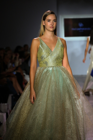 eveningwear: NEW YORK, NY - SEPTEMBER 16: A model walks the runway at Raul Penaranda fashion show during New York Fashion Week Spring 2016 at Style 360 on September 16, 2015 in NYC.