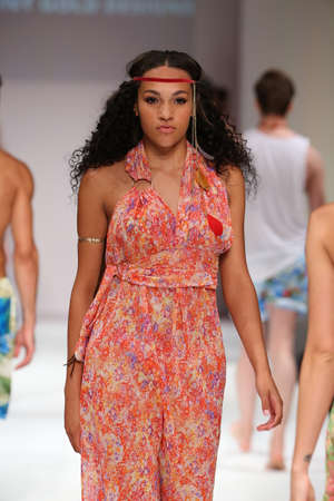 NEW YORK, NY - SEPTEMBER 11: Models walk the runway finale at the Lainy Gold Swimwear fashion show during Spring 2016 New York Fashion Week at Gotham Hall on September 11, 2015 in New York City.