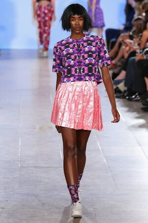 alexandra: NEW YORK, NY - SEPTEMBER 13: Model walks Alexandra Frida runway at the FTL Moda Spring 2016 during NYFW at Vanderbilt Hall at Grand Central Terminal, on September 13, 2015 in NYC.