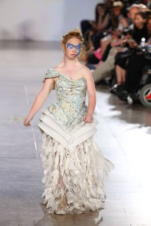 NEW YORK, NY - SEPTEMBER 13: Madeline Stuart walks Hendrik Vermeulen runway at the FTL Moda Spring 2016 during NYFW at Vanderbilt Hall at Grand Central Terminal, on September 13, 2015 in NYC.