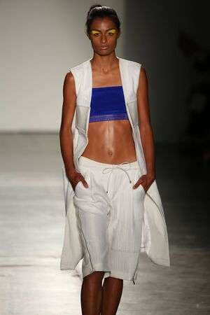 NEW YORK, NY - SEPTEMBER 09: A model from Daniel Silverstain walks at DSW Sponsors Gen Art 20th Anniversary Fresh Faces In Fashion Runway Spring 2016 at New York Fashion Week at Pier 59 on September 9, 2015 in New York City. Editorial