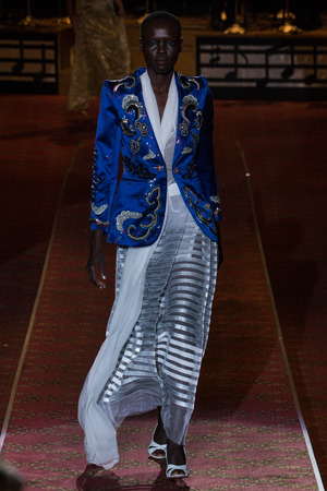 eveningwear: NEW YORK, NY - SEPTEMBER 17: A model walks the runway during the Marc Jacobs Runway Spring 2016 New York Fashion Week: The Shows at Ziegfeld Theater on September 17, 2015 in New York City.
