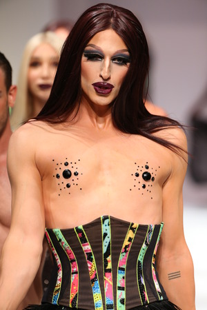 drag race: NEW YORK, NY - SEPTEMBER 12: Drag race alumni Milk worked the Marco Marco runway show during Spring 2016 New York Fashion Week at Gotham Hall on September 12, 2015 in NYC.