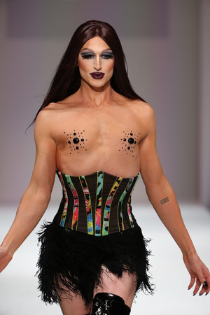 drag race: NEW YORK, NY - SEPTEMBER 12: Drag race alumni Milk worked the Marco Marco runway during Spring 2016 New York Fashion Week at Gotham Hall on September 12, 2015 in NYC. Editorial