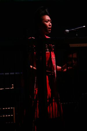 NEW YORK, NY - SEPTEMBER 10: A singer performs at the Malan Breton fashion show during Spring 2016 New York Fashion Week at Gotham Hall on September 10, 2015 in New York City. Reklamní fotografie - 46162145