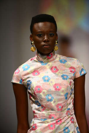 african american woman silhouette: NEW YORK, NY - SEPTEMBER 10: A model walks the runway at the Malan Breton fashion show during Spring 2016 New York Fashion Week at Gotham Hall on September 10, 2015 in New York City.