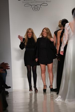 vino: NEW YORK, NY - OCTOBER 10: Designers walk runway during the Julie Vino Bridal FallWinter 2016 Presentation at EZ Studio on October 10, 2015 in New York City.