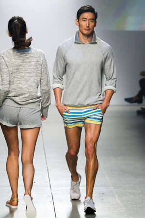 swimshorts: NEW YORK, NY - OCTOBER 14: A model walks the runway during 2(X)IST Mens SpringSummer 2016 Runway Show at Skyline Modern on October 14, 2015 in NYC. Editorial