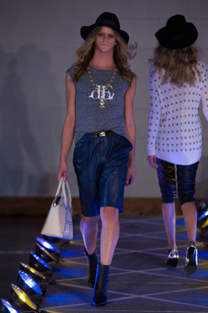 shemale: NEW YORK, NY - SEPTEMBER 14, 2015: A model walks runway for Victor de Souza SS 2016 Ready to Wear Collection during New York Fashion Week at 4 West 43rd Street, September 14, 2015 in NYC