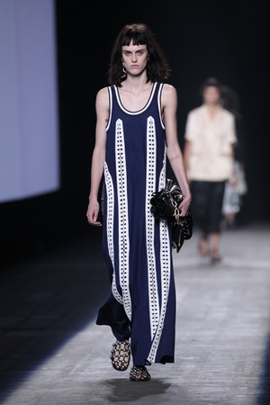 female sexy chains: NEW YORK, NY - SEPTEMBER 12: A model walks the runway during the Alexander Wang SpringSummer 2016 fashion show at Pier 94 on September 12, 2015 in NYC