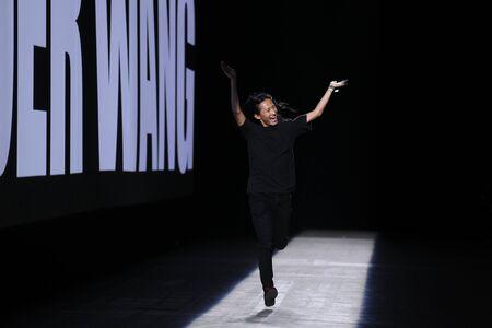 wang: NEW YORK, NY - SEPTEMBER 12: Designer Alexander Wang walks the runway during the Alexander Wang SpringSummer 2016 fashion show at Pier 94 on September 12, 2015 in NYC Editorial