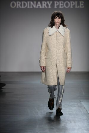 outwear: NEW YORK, NY - FEBRUARY 01: A model walks the runway at Concept Koreas Ordinary People 2016 FW Collection during New York Fashion Week Mens FallWinter 2016 at Pier 59 Studios on February 1, 2016 in New York City.