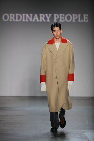 NEW YORK, NY - FEBRUARY 01: A model walks the runway at Concept Korea's Ordinary People 2016 F/W Collection during New York Fashion Week Men's Fall/Winter 2016 at Pier 59 Studios on February 1, 2016 in New York City.