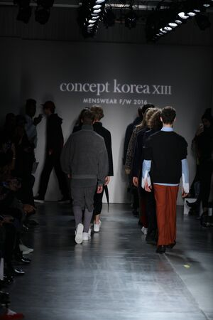outwear: NEW YORK, NY - FEBRUARY 01: Models walk the runway finale at Concept Koreas Ordinary People 2016 FW Collection during New York Fashion Week Mens FallWinter 2016 at Pier 59 Studios on February 1, 2016 in New York City.