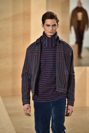ellis: NEW YORK, NY - FEBRUARY 03: A model walks the runway wearing Perry Ellis during New York Fashion Week Mens FallWinter 2016 on February 3, 2016 in NYC.