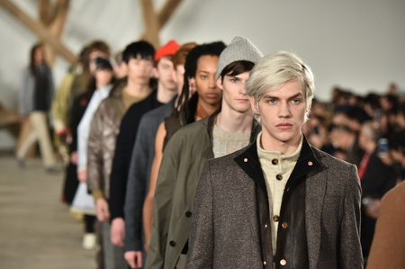 fashion catwalk: NEW YORK, NY - FEBRUARY 03: Models walk the runway finale at the Billy Reid fashion show during New York Fashion Week Mens FallWinter 2016 on February 3, 2016 in NYC.