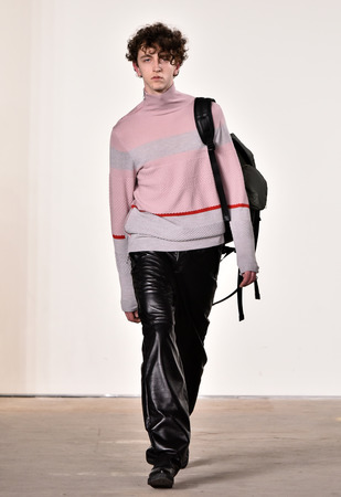 utilitarian: NEW YORK, NY - FEBRUARY 03: A model walks the runway at Tim Coppens fashion show during the New York Fashion Week Mens FallWinter 2016 at Skylight at Clarkson Sq on February 3, 2016 in NYC