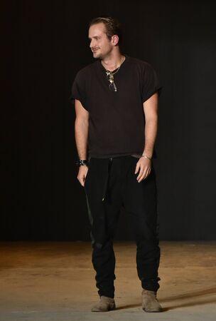 robert: NEW YORK, NY - FEBRUARY 02: Designer Robert Geller walks the runway wearing Robert Geller during New York Fashion Week Mens FallWinter 2016 on February 2, 2016 in NYC. Editorial