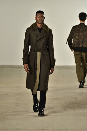 NEW YORK, NY - FEBRUARY 02: A model walks the runway at Ovadia & Sons Fashion show at New York Fashion Week Mens FallWinter 2016  on February 2, 2016 in NYC.