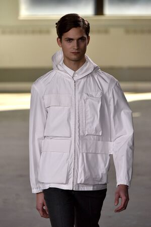boxy: NEW YORK, NY - FEBRUARY 02: A model walks the runway wearing Duckie Brown during New York Fashion Week Mens FallWinter 2016 on February 2, 2016 in NYC. Editorial