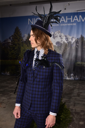 nick: NEW YORK, NY - FEBRUARY 03: A model poses wearing Nick Graham during New York Fashion Week Mens FallWinter 2016 on February 3, 2016 in NYC.