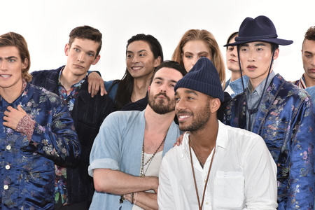 mal: NEW YORK, NY - FEBRUARY 03: Creative director Shane Fonner posing with models after the the Palmiers du Mal runway show during New York Fashion Week Mens FallWinter 2016 on February 3, 2016 in NYC. Editorial