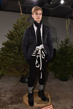 Graham: NEW YORK, NY - FEBRUARY 03: A model poses wearing Nick Graham during New York Fashion Week Mens FallWinter 2016 on February 3, 2016 in NYC.