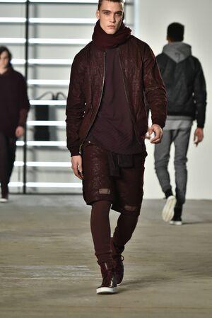 NEW YORK, NY - FEBRUARY 04: A model walks runway during the John Elliott + CO New York Fashion Week Mens FallWinter on February 4, 2016 in NYC.