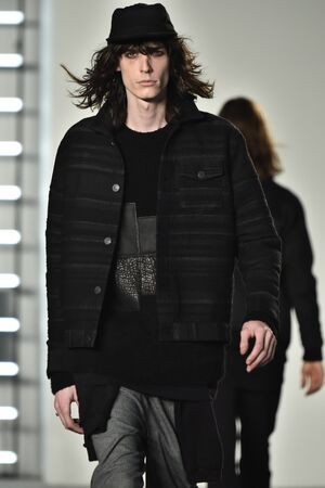 co: NEW YORK, NY - FEBRUARY 04: A model walks runway during the John Elliott + CO New York Fashion Week Mens FallWinter on February 4, 2016 in NYC.