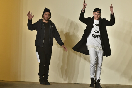 laurence: NEW YORK, NY - FEBRUARY 04: Designers Joshua Cooper and Laurence Chandler walk the runway at the Rochambeau Collection during NYFW Mens FallWinter 2016 on February 4, 2016 in NYC.