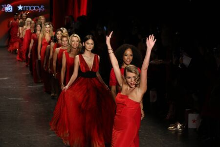 the celebrities: NEW YORK, NY - FEBRUARY 11: Celebrities walk the runway finale  at The American Heart Associations Go Red For Women Red Dress Collection 2016 Presented By Macys on February 11, 2016 in NYC.