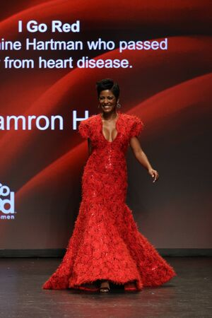 associations: NEW YORK, NY - FEBRUARY 11: Tamron Hall walks the runway at The American Heart Associations Go Red For Women Red Dress Collection 2016 Presented By Macys on February 11, 2016 in NYC. Editorial