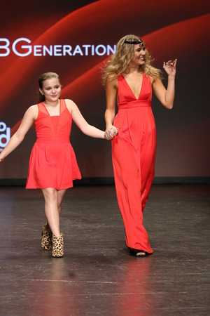 associations: NEW YORK, NY - FEBRUARY 11: Maisy Stella (L) and Lennon Stella walk the runway at The American Heart Associations Go Red For Women Red Dress Collection 2016 Presented By Macys  on February 11, 2016 in NYC.